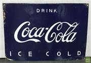 Sale 8435 - Lot 1035 - Blue Coca Cola Drink Ice Cold Sign 28cm x 40cm