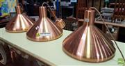 Sale 8554 - Lot 1037 - Set of Three Copper Style Pendant Lights