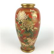 Sale 8589R - Lot 76 - Meiji Period Satsuma Vase with Floral Designs on Red Background, signed to base (H: 18cm)