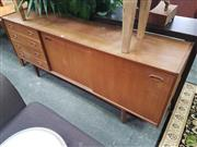 Sale 8601 - Lot 1329 - Vintage Four Drawer Two Sliding Door Sideboard (H: 74 W: 182 D: 40cm)