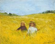 Sale 8838A - Lot 5038 - Hermia Boyd (1931 - 2000) - Girls on the Prairie, 1967 23 x 29.5cm