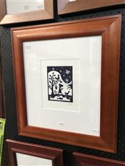 Sale 8861 - Lot 2002 - Michael L. Leunig The Traveller woodcut; ed 58/75, signed -