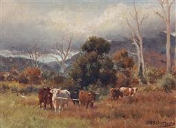 Sale 9047 - Lot 524 - Jan Hendrik Scheltema (1861 - 1941) - Cattle in a pasture 21.5 x 29 cm (frame: 34 x 41 x 6 cm)