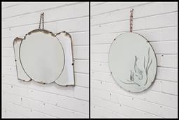 Sale 9121 - Lot 1046 - Two Art Deco mirrors (45cm)