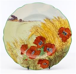 Sale 9245R - Lot 74 - A Royal Doulton cabinet plate decorated with poppies in a wheat field, C: 1930s D: 26cm