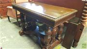 Sale 8402 - Lot 1048 - 1930s Carved Oak Side Table, on reeded double column supports, joined by a stretcher base
