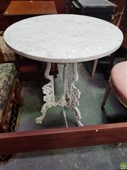 Sale 8634 - Lot 1100 - Possibly Victorian Cast Iron & Marble Top Garden Table, the white round top, on a tri form base with floral motifs