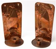 Sale 9048A - Lot 18 - A pair of Newlyn School copper candle sconces with embossed ship motif, height 31cm
