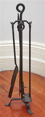 Sale 9081H - Lot 27 - A set of black iron firetools