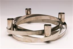 Sale 9131 - Lot 15 - A mid century design chrome candle holder (Dia 25cm)