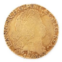 Sale 9130E - Lot 6 - A John V 21 carat gold half Johanna of Portugal dated 1748, weight 10.13g, some wear apparent