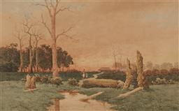Sale 9161A - Lot 5067 - HENRI TEBBITT (1852 - 1926) - Two Figures in an Afternoon Countryscape 46 x 73.5 cm (frame: 85 x 101 cm)