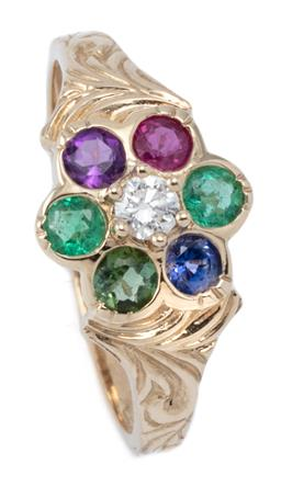 Sale 9160 - Lot 358 - A GEMSET DAISY CLUSTER DEAREST RING; centring a round brilliant cut diamond surrounded by an emerald, amethyst, ruby, blue sapphire...