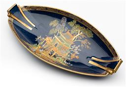 Sale 9245R - Lot 75 - Carlton Ware Art Deco twin stylised handle oval dish, painted in enamel and gilt of a pagoda scene onto a deep blue ground, the unde...