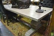 Sale 8361 - Lot 1017 - Lime Wash Pedestal Dining Table