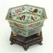 Sale 8393B - Lot 22 - Plique a Jour Hexagonal Bowl on a Stand