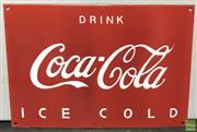 Sale 8435 - Lot 1027 - Red Coca Cola Drink Ice Cold Sign 28cm x 40cm