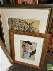 Sale 8495 - Lot 2033 - Artists Unknown (2 works) - Island Scene; Rabbi 78 x 57cm; 52 x 43.5cm (frame sizes)