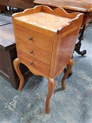 Sale 8848 - Lot 1038 - French Fruitwood Bedside Cabinet, with star inlay and gallery back, above three drawers & cabriole legs