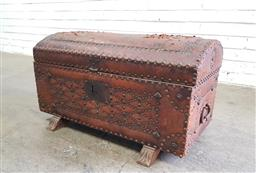 Sale 9126 - Lot 1089 - Antique Style Studded Leather Travelling Trunk, the domed top with world map (distressed) & red fabric lined interior, raised o...