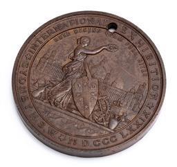 Sale 9130E - Lot 90 - A bronze Sydney International Exhibition 1879 medal, diameter 7.6cm, drilled hole to top