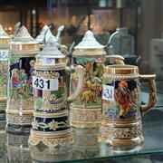 Sale 8351 - Lot 25 - German Musical Beer Steins (4)
