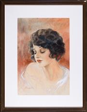 Sale 8595 - Lot 2055 - P Hunter - Portrait of a Female Muse 37 x 25cm