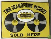 Sale 8435 - Lot 1028 - Enamel Twin Gramophone Records Sign 61cm x 46cm
