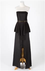 Sale 8541A - Lot 19 - A Sass and Bide black strapless evening dress with beaded waist band, and split to front, size 10.