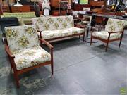 Sale 8566 - Lot 1003 - Vintage Three Piece Teak Lounge Suite
