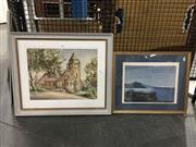 Sale 8750 - Lot 2098 - 2 Works: L.Litchfield - Church, watercolour & Artist Unknown - Coastal Rocky Outcrop, watercolour, STR