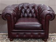 Sale 8782A - Lot 106 - A pair of Chesterfield lounge chairs in oxblood red by Casamia width 110cm x 74cm x 90cm