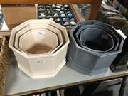 Sale 8819 - Lot 2333 - Two Sets of Three Graduating Planters in Cream & Grey (883)