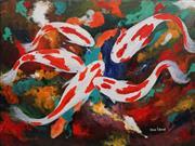 Sale 8901A - Lot 5045 - Greg Lipman (1938 - ) - White & Red Koi 92 x 122 cm
