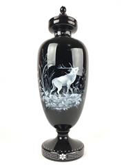 Sale 8995H - Lot 39 - A Mary Gregory black glass lidded urn with stag decoration to body, height 45cm