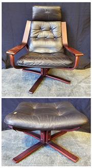 Sale 9039 - Lot 1051 - Joe Rufenacht Armchair & Foot Stool (H:95 x W:71 x D:73cm)
