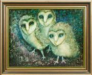Sale 9071H - Lot 46 - Judy Chapman - Owls Signed and dated lower left 1980