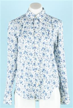 Sale 9092F - Lot 30 - A RALPH LAUREN COLLARED BLOUSE; in blue and white floral print, size 8