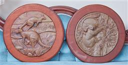 Sale 9103M - Lot 467 - Pair of Australian fauna themed wall hangings with timber backing, Diameter 38cm