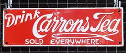 Sale 9134 - Lot 1040 - Enamel Carrons Tea sign (h:10 x w:30.5cm)