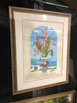 Sale 9147 - Lot 2035 - Anna Garland Heliconias & Red Brown Finch gouache, frame: 103 x 83 cm, signed lower right -