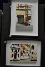 Sale 8453 - Lot 2001 - S. M. Dougall, Venetian Canal & Italian Street Scene, oil on board, 56 x 42cm frame size