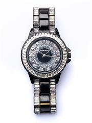 Sale 8550F - Lot 12 - A Pierre Cardin diamante encrusted stainless steel wristwatch, D of dial 37mm.