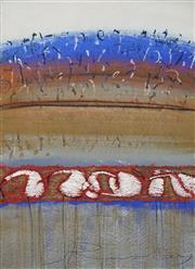 Sale 8633A - Lot 5002 - Jann Rowley (1941 - ) - Brolga Landscape II 76.5 x 57.5cm (frame: 102 x 83cm)