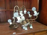 Sale 8648C - Lot 1068 - Brass Chandelier with Five Arms & Ceramic Floral Form Mounts & Gems