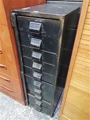 Sale 8661 - Lot 1088 - Vintage Metal Archive Cabinet (H: 96 W: 29 D: 41cm)
