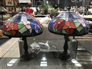 Sale 8787 - Lot 1065 - Pair of Leadlight Shade Table Lamps