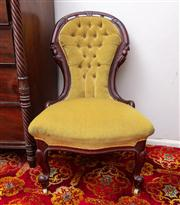 Sale 8804A - Lot 148 - A walnut lady's chair upholstered in gold velvet with deep buttoned back and corded trim, H 91cm