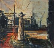 Sale 8847 - Lot 575 - Wendy Stavrianos (1941 - ) - Sentinel of Light at the Railways Edge No 2, 1996 45.5 x 50.5cm