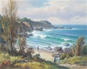 Sale 8847 - Lot 570 - Andris Jansons (1939 - ) - Down to the Beach Near Narooma 28.5 x 38.5cm